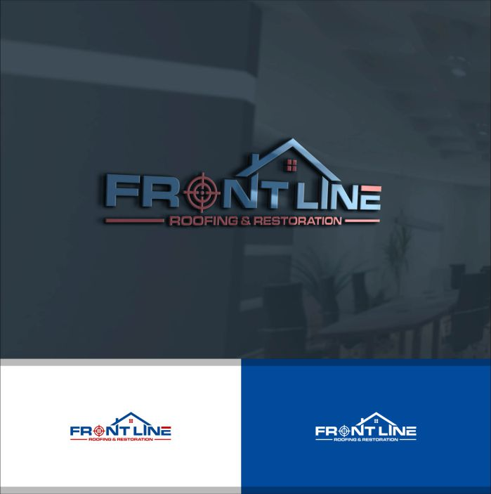 Mẫu logo công ty xây dựng Frontline Roofing