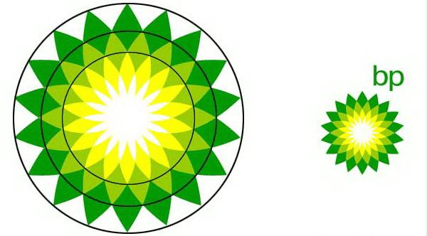 Tỉ lệ vàng trong thiết kế logo của Bp