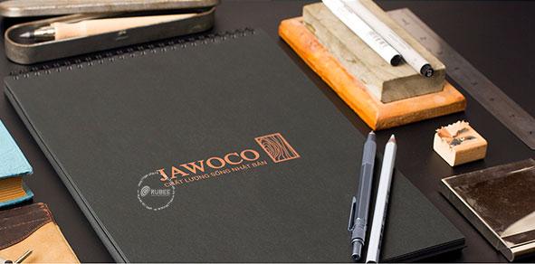 Phối cảnh thiết kế logo gạch men sứ Jawoco