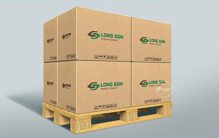 Phối cảnh thiết kế logo công ty xuất nhập khẩu Long Sơn