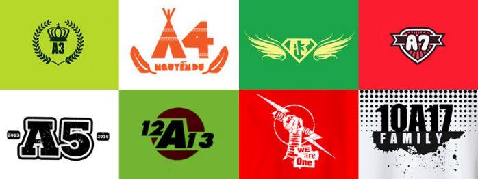 thiết kế logo áo lớp cách điệu tên lớp
