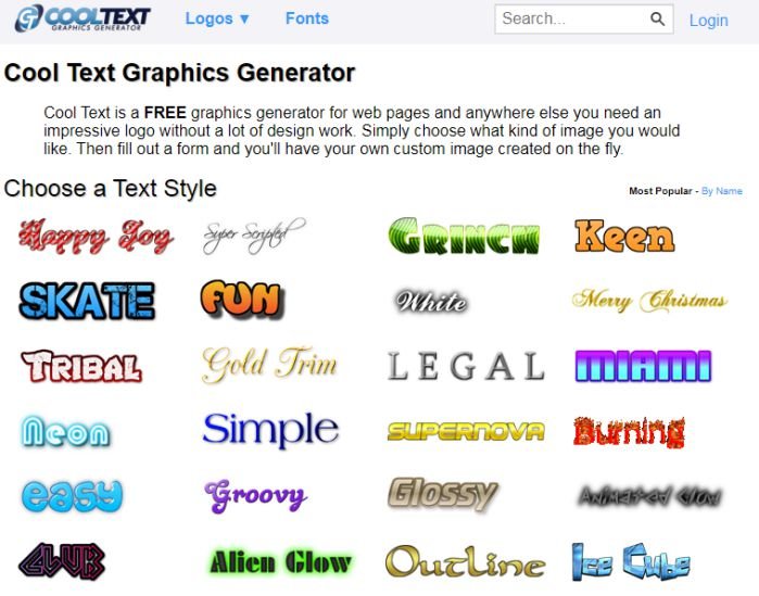 Tải phần mềm logo Cool Text