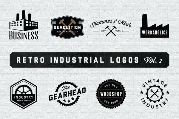 Vintage logo hình tượng công nghiệp