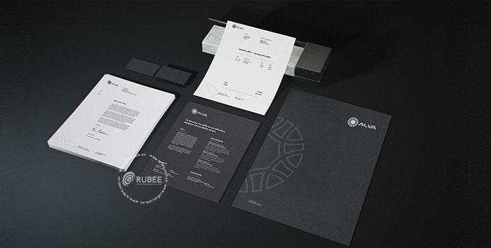 Phối cảnh thiết kế logo Alva lên ứng dụng văn phòng