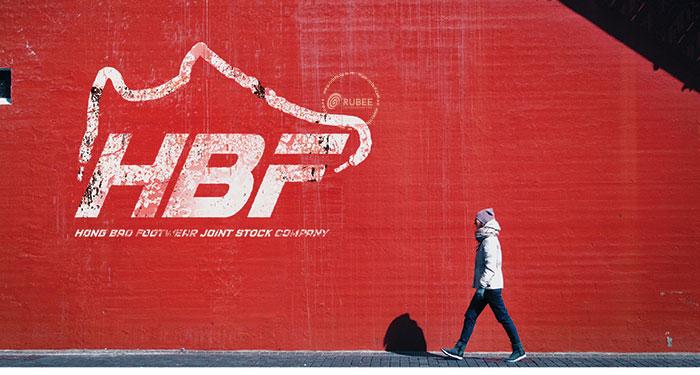 Phối cảnh thiết kế logo giày HBF tại Rubee