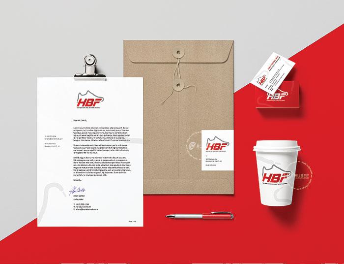 Phối cảnh thiết kế logo giày HBF