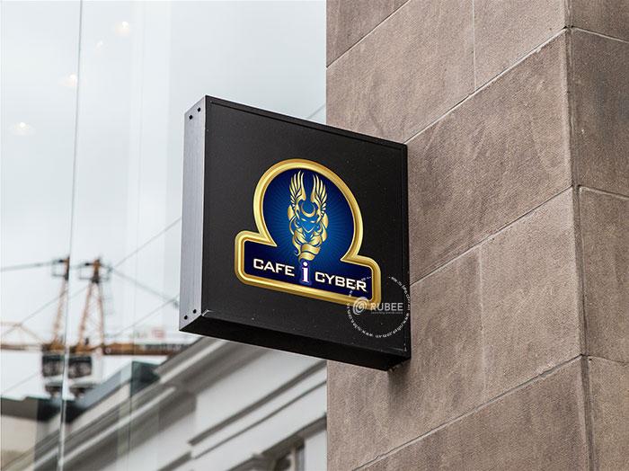 Phối cảnh thiết kế logo Café i Cyber