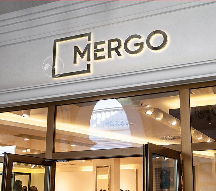 Phối cảnh thiết kế logo bếp gia dụng Mergo